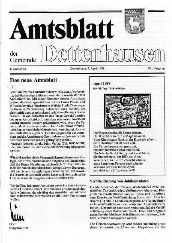 Amtsblatt April 1988