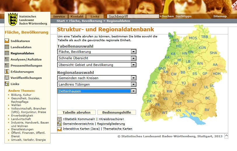 Statistisches Landesamt Internetseite