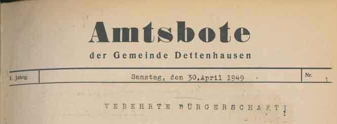 Amtsbote 1949 Kopf Titelseite